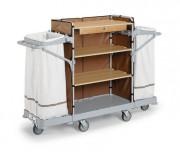 Chariot de service nettoyage pour hôtel - Dimensions chariot (LxIxH)en cm :  127 x 53 x 160
