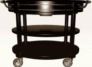 Chariot de service ovale en bois - En hêtre massif - Ovale - Dimensions : H 113 x L 70 x l 83 cm