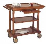 Chariot de service restaurant en bois - Dimensions : L 840/1130 x l 490 x h 830 mm
