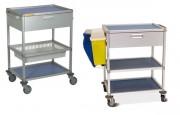 Chariot de soins mobile - En aluminium anodisé - 2 étagères amovibles en Volkern