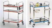 Chariot de soins plateaux inox - Matière : Inox 18/10 -Dimensions :  750 x 700 mm- Niveaux : 2 ou 3 plateaux