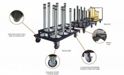 Chariot de transport poteaux - Dimensions  (L x l x H) mm : 1160 x 850 x 900