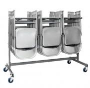 Chariot de transport pour chaise empilable - Capacité de charge : entre 30 et 60 chaises pliantes