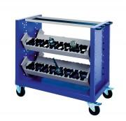 Chariot en acier porte outils - 4 racks avec 8 supports modulaires