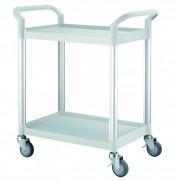Chariot en plastique à 2 plateaux - Charge maximum : 250 / chariot - Structure en aluminium