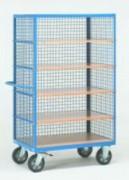 Chariot fermé en treillis métallique et étagères - Charge (kg) : 750