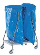 Chariot inox collecteur à déchets