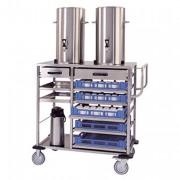 Chariot inox de cuisine pour paniers à vaisselle - Pour 2 conteneurs de 4 à 20 litres