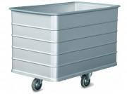 Chariot linge à fond fixe aluminium - Construction en aluminium - Capacité : 220 à 366 litres