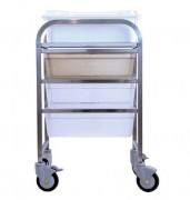 Chariot médical à glissières - Dimensions extérieures (L x P x H) mm : 570 x 590 x 1000
