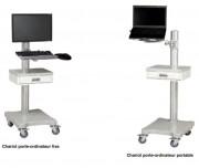Chariot médical informatique - Largeur x Profondeur x Hauteur : 990 x 630 x 125 mm