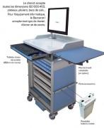 Chariot médical informatisé - Chariot polyvalent en aluminium anodisé