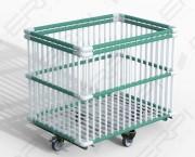 Chariot moplen - Type de finition : PEHD vert et blanc