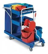 Chariot multi usages 6 seaux - Dimensions chariot (LxIxH)en cm :  107 x 140 x 65