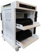 Chariot multimédia pour 24 tablettes et pc portables - 2 compartiments coulissants