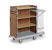 Chariot nettoyage ménage entretien hôtel - Dimensions chariot (L x l x H) :  130 x 52 x 140 cm