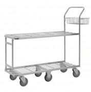 Chariot panier de magasin - Capacité : 200 Kg - Dimensions : 1320x430x1120 mm - 6 roues