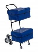 Chariot postier ergonomique - 2 x 3 roues en étoiles   -  Ergonomique