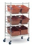 Chariot pour bacs postaux - 3 étagères fil à rebord