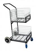 Chariot pour distribution de courrier - Avec 2 corbeilles amovibles