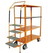 Chariot préparateur de commandes à 4 plateaux et escabeau - Capacité : 600 kg