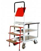 Chariot préparation de commandes 3 plateaux et escabeau - Chariot 3 niveaux + escabeau