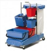 Chariot professionnel de ménage - Capacité seaux : 5L  -  Dim roues : 75mm