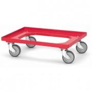 Chariot rouge pour bacs plastiques - Dimension (mm) : 600 x 400 - 800 x 600