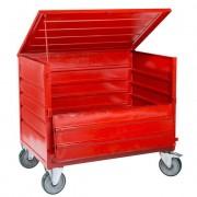 Chariot tôlé avec couvercle et demi-porte - Capacité  : 1000 kg