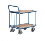 Chariots à 2 plateaux avec dossier tubulaire - Capacité de charge : 400 kg