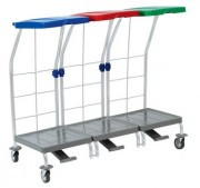 Chariots ramasse linge 3 supports - Dimensions chariot  (L x l x H) cm :  110 x 48.2 x 95