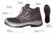 Chaussure cuir noire haute de protection - Pointures : De 36 à 48