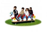 Cheval à bascule pour 4 enfants - Dimensions (L x P x H) cm :  45 x 220 x 90