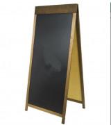 Chevalet pliable pour trottoir - Fabriqué en bois teinté  - Double face