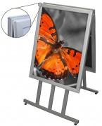 Chevalet porte affiche pliable - Dimensions (Lxh) : 500 x 700 - 700 x 1000 - 1000 x 1400 mm.