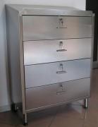 Chiffonnier d'atelier 4 tiroirs coulissants - En acier inox épaisseur 0,8 mm - Dimensions (L x P x H) : 800 x 400 x 1170 mm