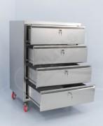 Chiffonnier d'atelier 4 tiroirs mobile - En acier inox épaisseur 0,8 mm - Dimensions (L x P x H) : 800 x 600 x 1100 mm - 4 Roues