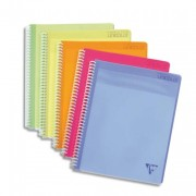 CLAIREFONTAINE Cahier spirale couverture polypro 100 pages A4 grands carreaux - Clairefontaine