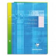 CLAIREFONTAINE Feuillets mobiles 17x22 cm 100 pages grands carreaux blancs 90g – Sous étuis carton - Clairefontaine