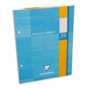 CLAIREFONTAINE Feuillets mobiles 17x22 cm 200 pages grands carreaux blancs 90g – Sous étuis carton - Clairefontaine