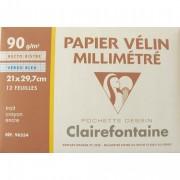 CLAIREFONTAINE Pochette de 12 feuilles 90g papier millimétré Ref-96554 - Clairefontaine