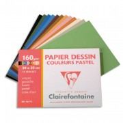 CLAIREFONTAINE Pochette de 12 feuilles papier dessin couleur teintes pastels 160g 24x32 Ref-96772 - Clairefontaine