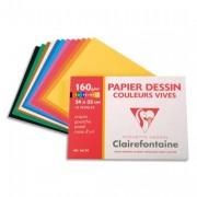 CLAIREFONTAINE Pochette de 12 feuilles papier dessin couleur teintes vives 160g 24x32 Ref-96770 - Clairefontaine