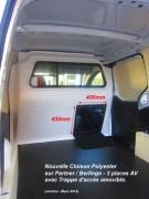 Cloison Berlingo et Partner avec trappe d'accès - Trappe d'accès : 430 mm sur 400 mm