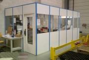 Cloison d'atelier monobloc amovible vitrée - Cloison semi vitrée en mélaminé