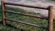 Cloture bois rondin 3 lisses - Bois rond traité autoclave