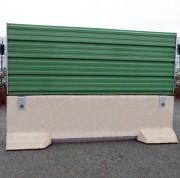 Clôture chantier à habillage en bardage tôle - Longueur : 293 cm  -  Largeur : 50 cm  -  Hauteur : 110 cm