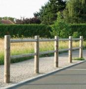 Clôture de jardin en pin poteaux ronds - Hauteur totale 1500 mm - Poteau de Ø 120 mm