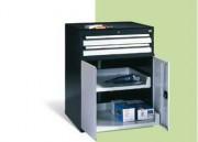 Coffre à tiroir - Dimensions intérieures des tiroirs : L 700 x P 600 mm, hauteur des portes battantes 670 mm