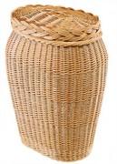 Coffre ovale galbé en osier - Hauteur : 65 cm